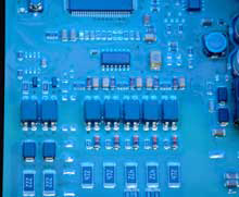 coated circuit board closeup view, small picture - click to enlarge picture
