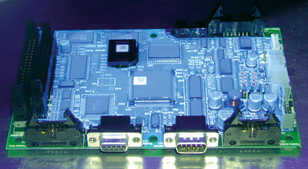 coated pcb under uv-light